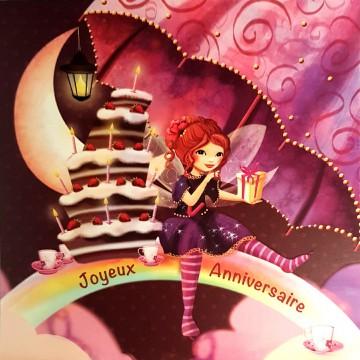Joyeux anniversaire Arc-en-ciel et gâteau