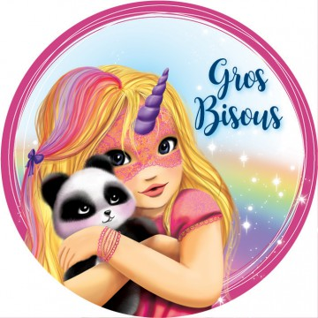 Bisous panda et licorne (rose)