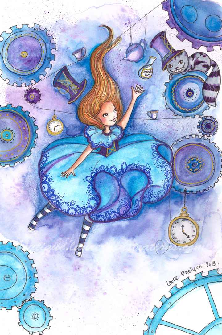 Alice et le chat (Aquarelle vertical)