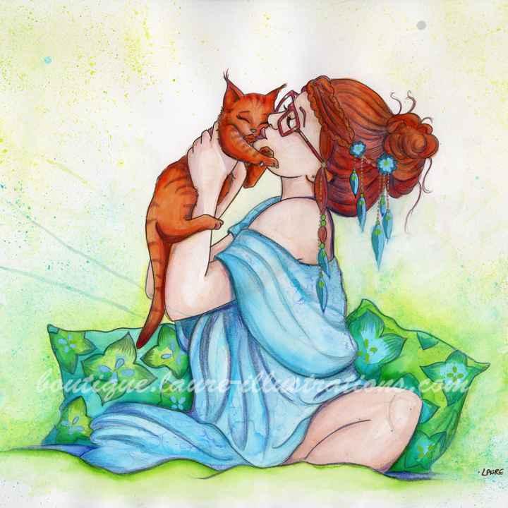 D23 :: Amoureuse des chats - Aquarelle du cahier de coloriage