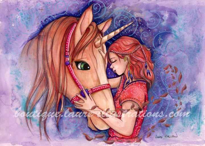 Câlin avec une licorne - Aquarelle du cahier de coloriage - horizontal