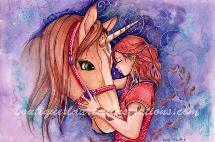 D21 :: Câlin avec une licorne - Aquarelle du cahier de coloriage - horizontal