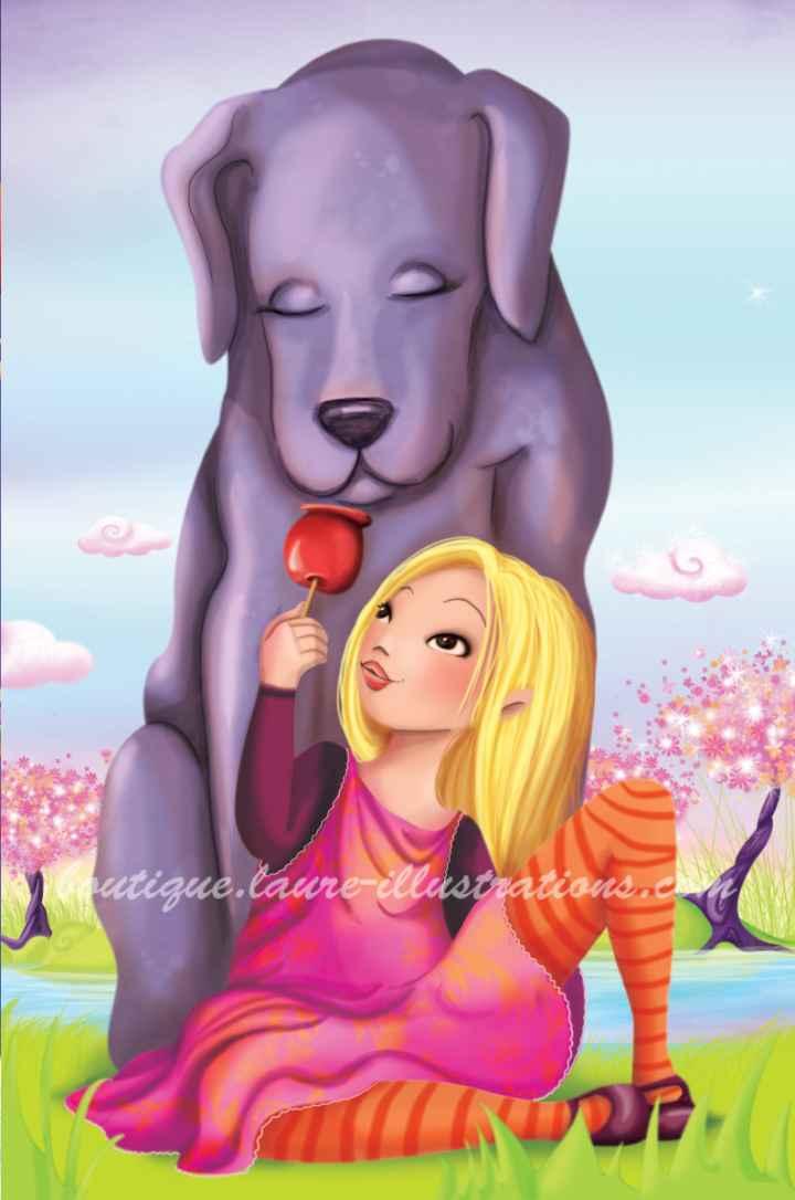 Chien et pomme d'amour