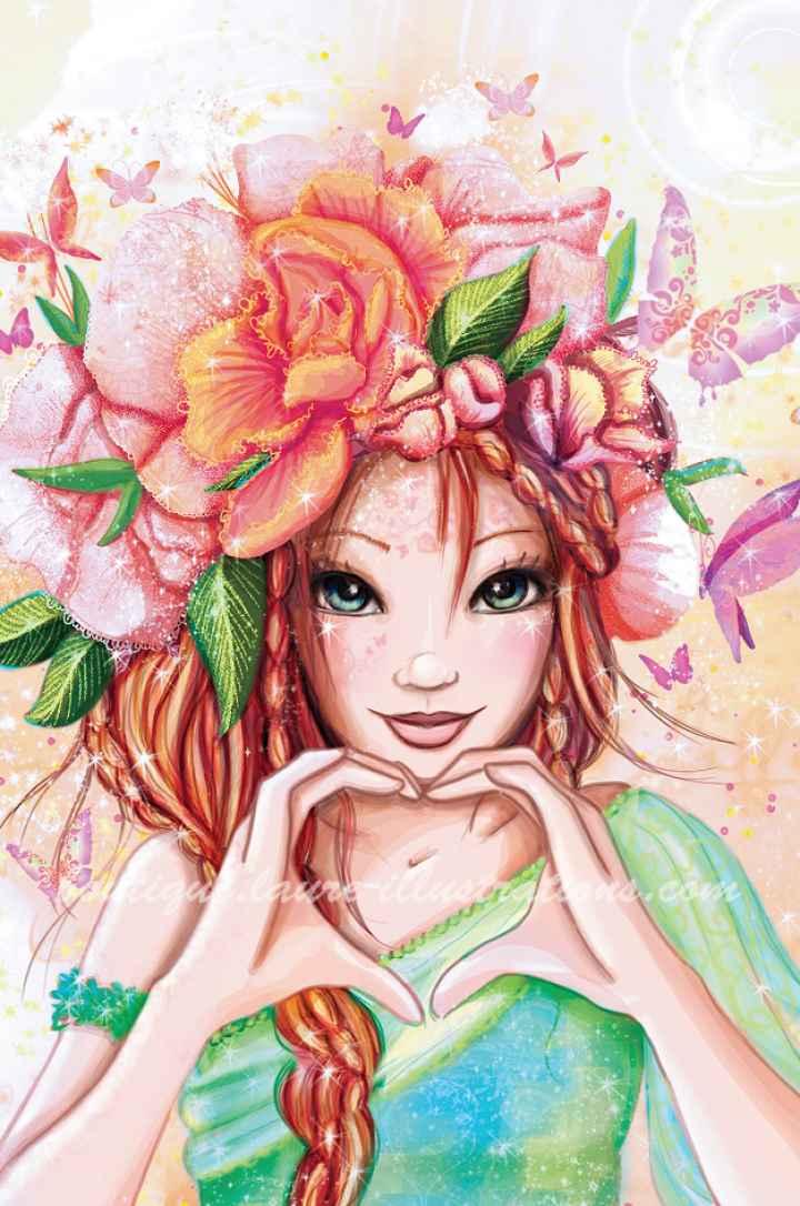 Cœur en fleur vert (Vertical)