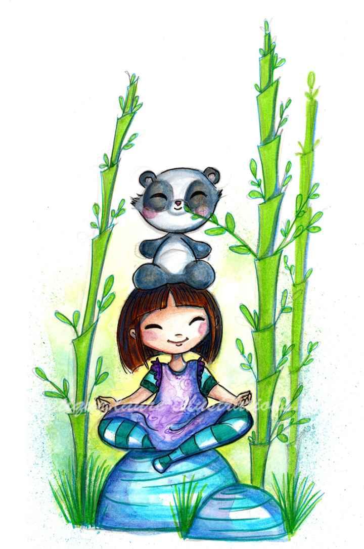 Dans les bambous fille - vertical