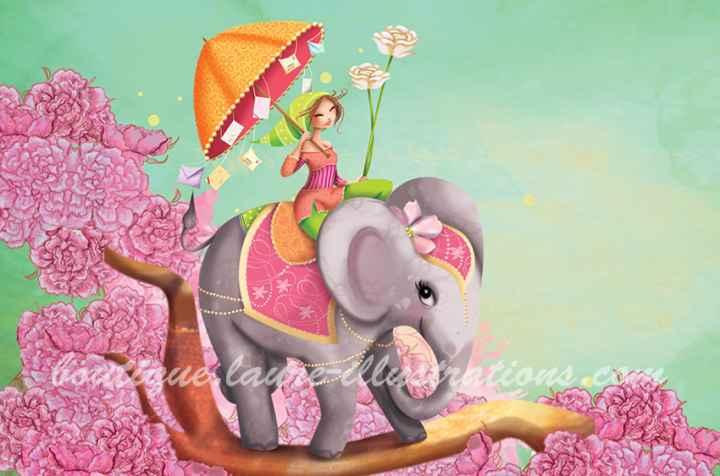 éléphant et la fille (horizontal)
