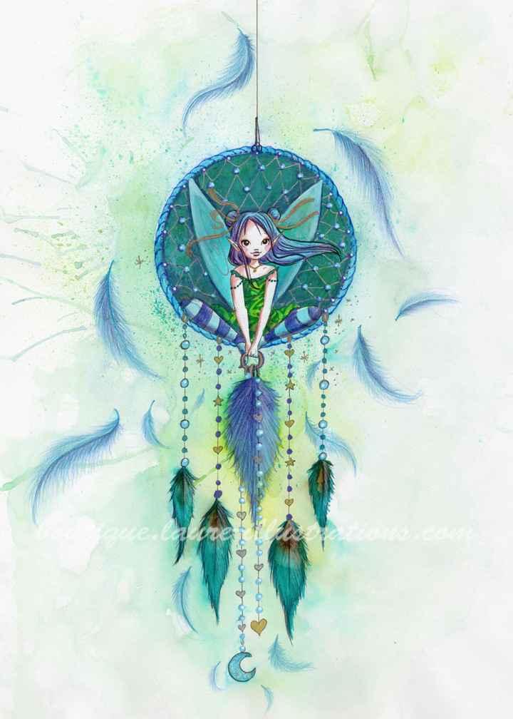 Fée attrape rêves - Aquarelle du cahier de coloriage - Vertical