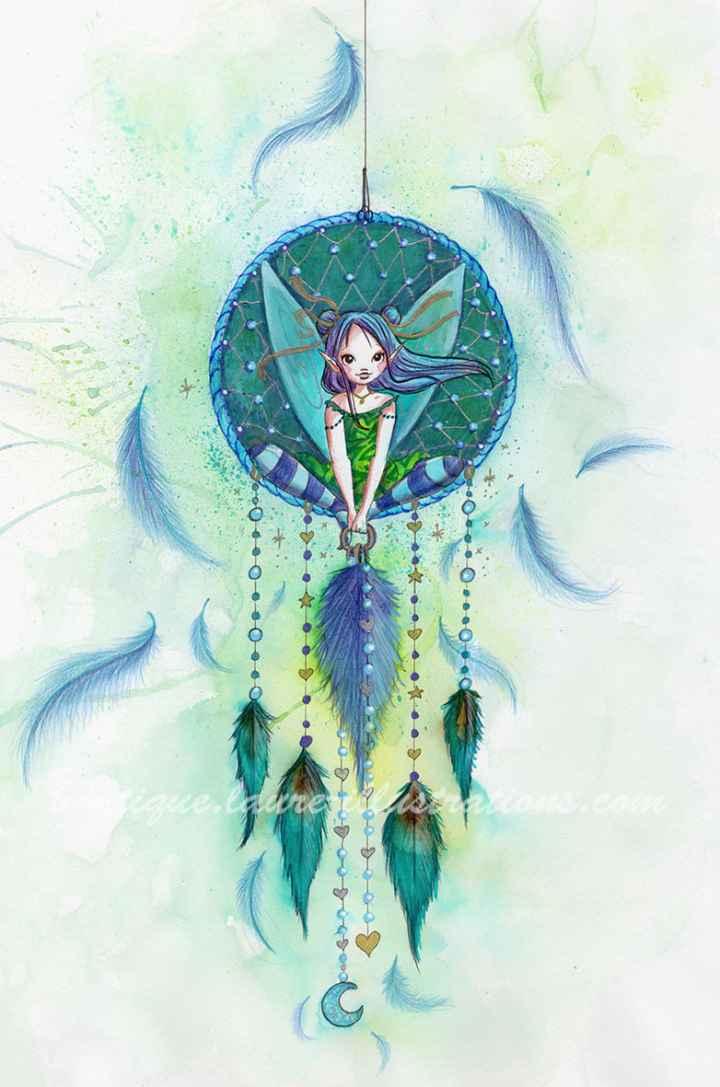 D28 :: Fée attrape rêves - Aquarelle du cahier de coloriage - Vertical