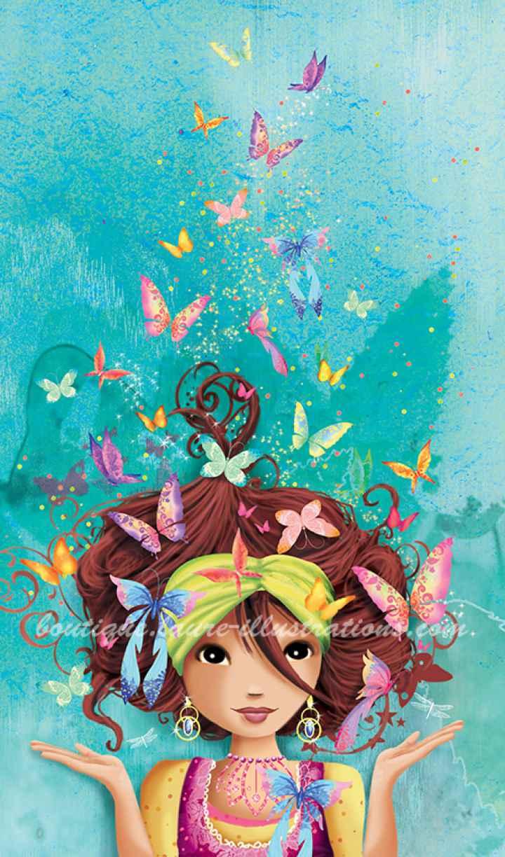 Fille aux papillons (Vertical)