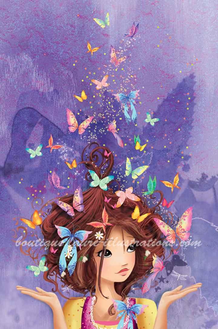 Fille aux papillons MAUVE (vertical)