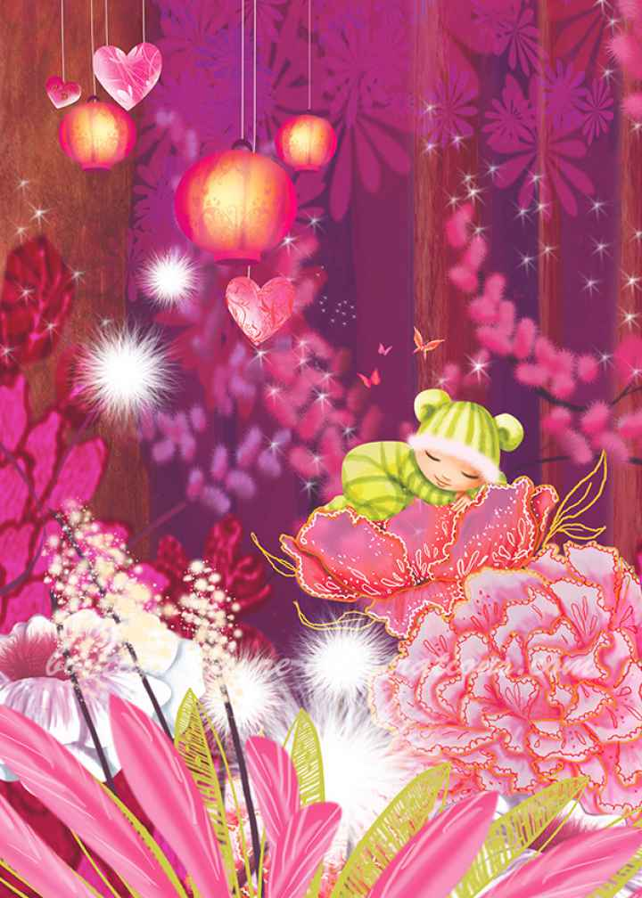 Forêt rose avec bébé (Vertical)