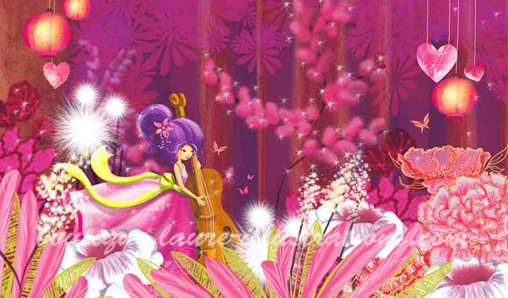 Forêt rose avec musicienne  (horizontale)