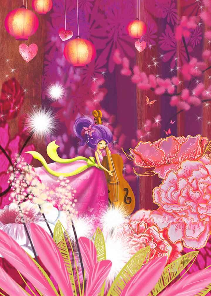 Forêt rose avec musicienne  (Vertical)