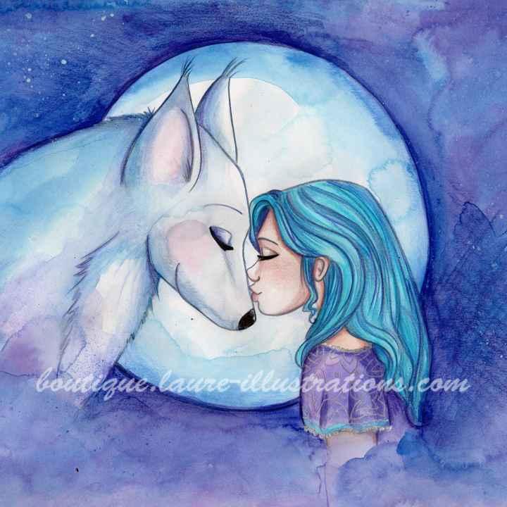 D34 :: Loup - Aquarelle du cahier de coloriage - Carré