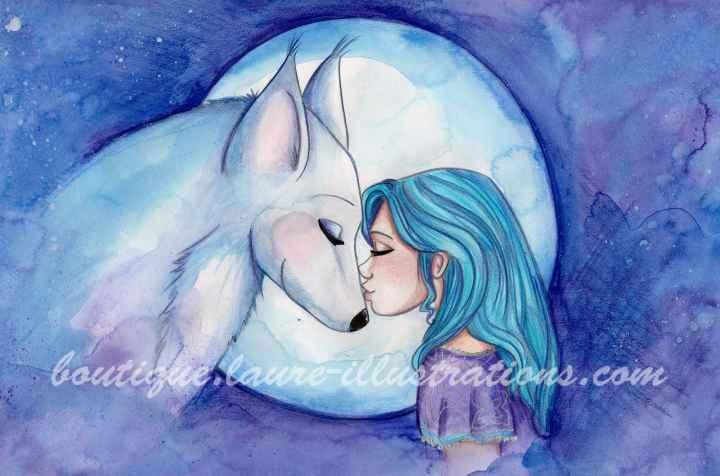 D33 :: Loup - Aquarelle du cahier de coloriage - Horizontal