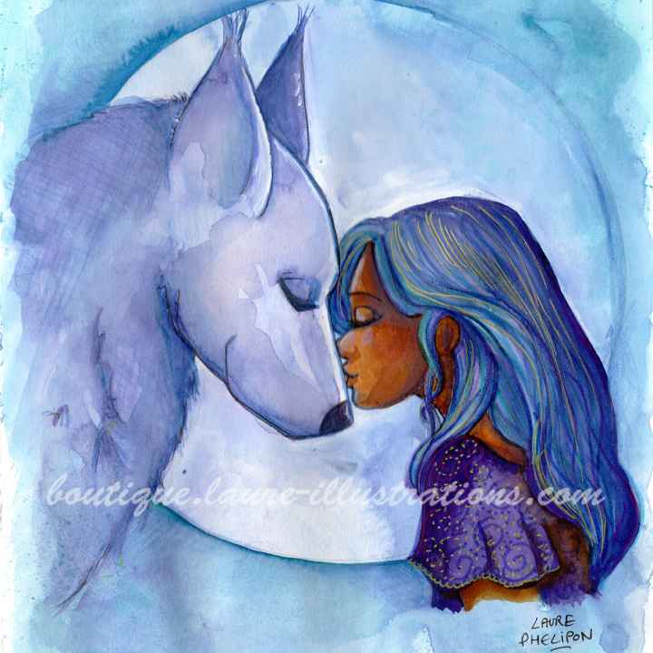 D07 :: Loup aquarelle bleu - carré