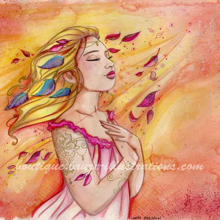 D30 :: Lumineuse - Aquarelle du cahier de coloriage - Carré