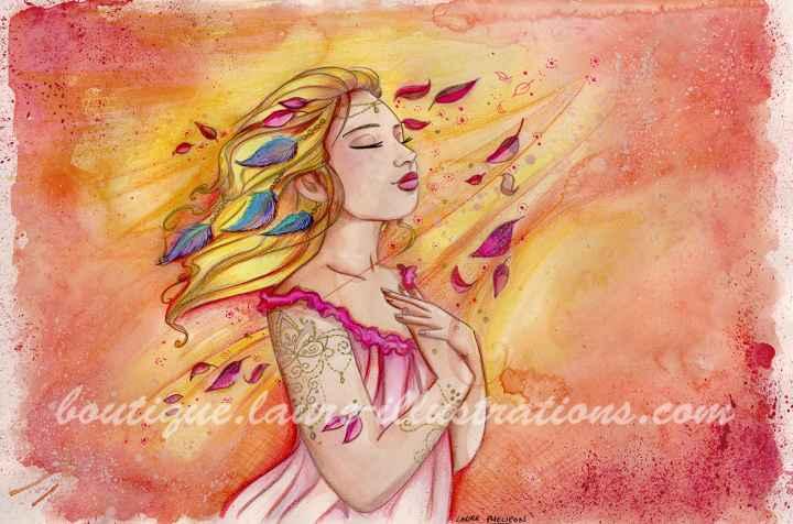 D29 :: Lumineuse - Aquarelle du cahier de coloriage - Horizontal