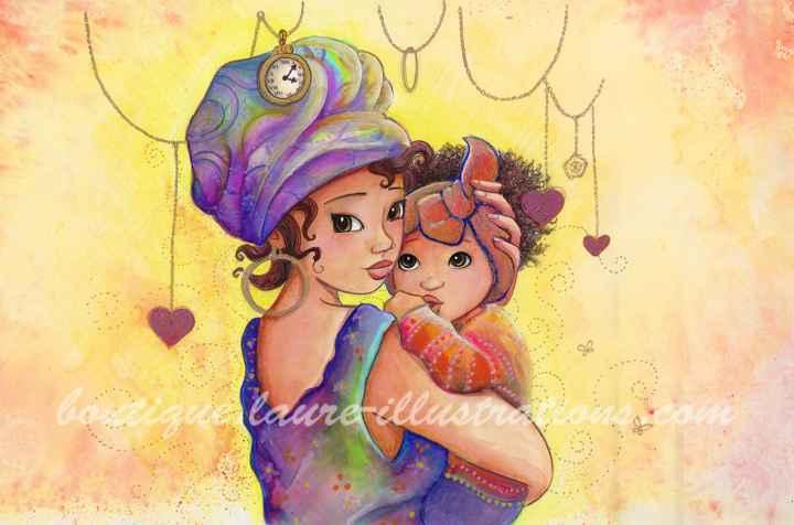 D62 :: Maman - Aquarelle coloriage - horizontal