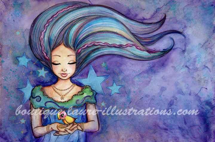 D39 :: Oiseau - Aquarelle du cahier de coloriage - Horizontal