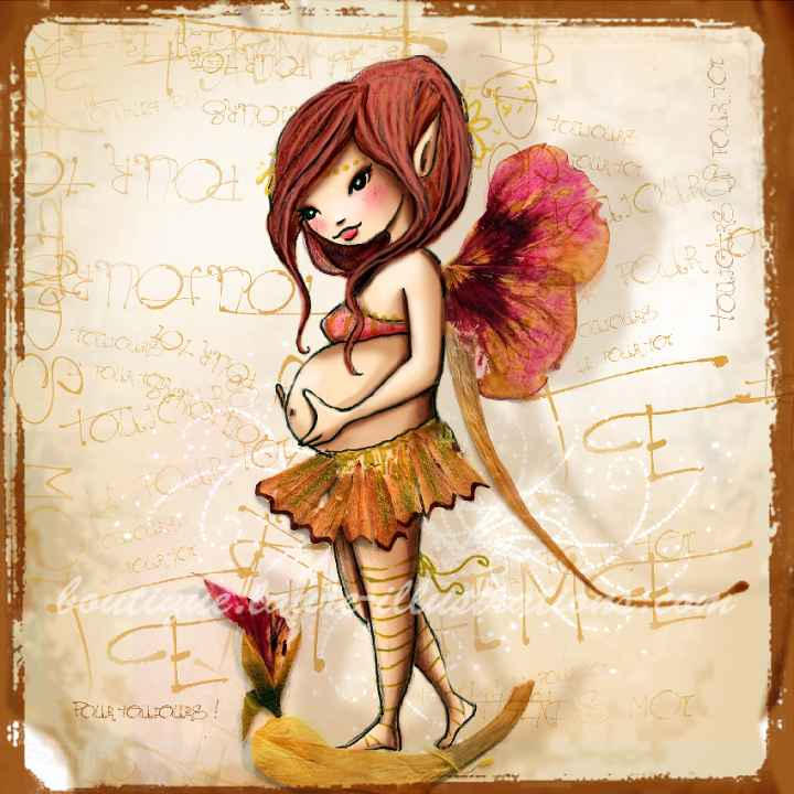 A08 :: Petite fée enceinte (collection herbier)