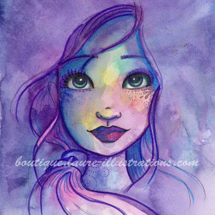 D68 :: Portrait violet - Aquarelle - carré