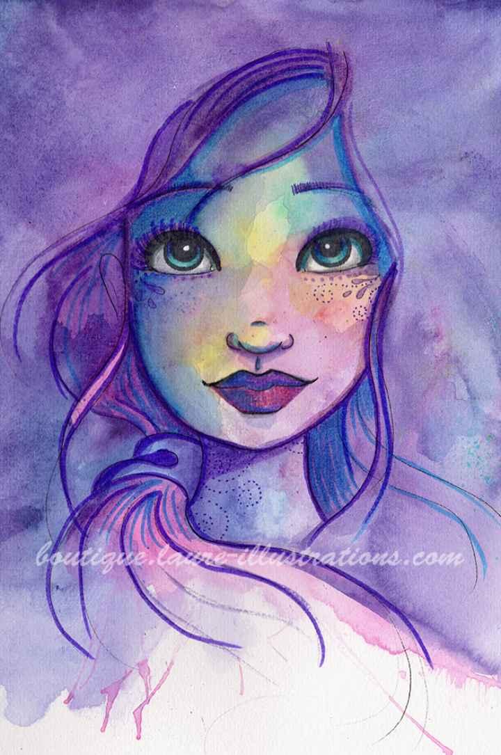 D69 :: Portrait violet - Aquarelle - vertical
