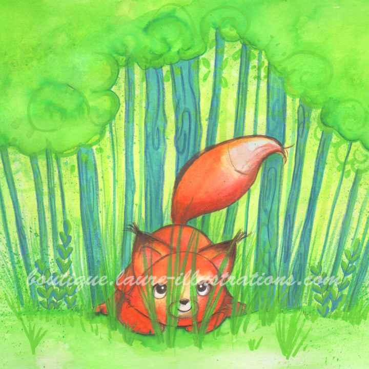 D77 :: Renard dans l'herbe - Aquarelle - carré