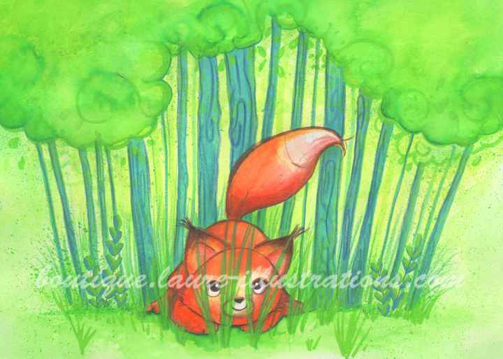 Renard dans l'herbe - Aquarelle - Horizontal