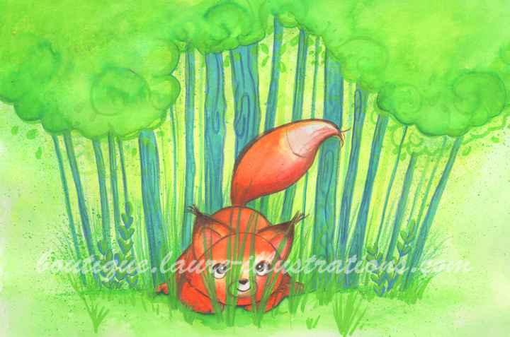 D78 :: Renard dans l'herbe - Aquarelle - Horizontal