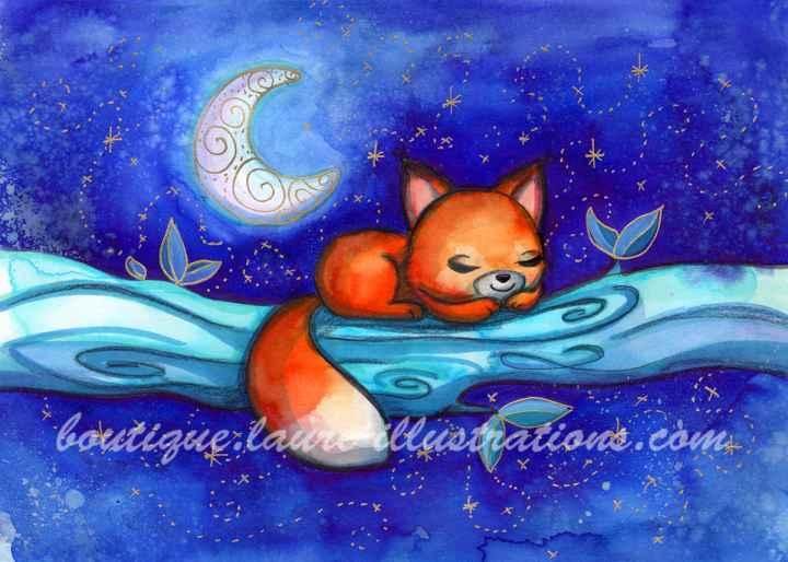 Renard de nuit - Aquarelle - Horizontal