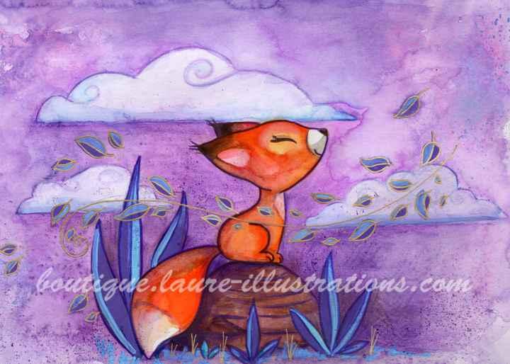 Renard respire - Aquarelle - Horizontal