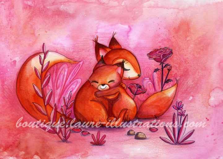 Renards amoureux - Aquarelle - Horizontal