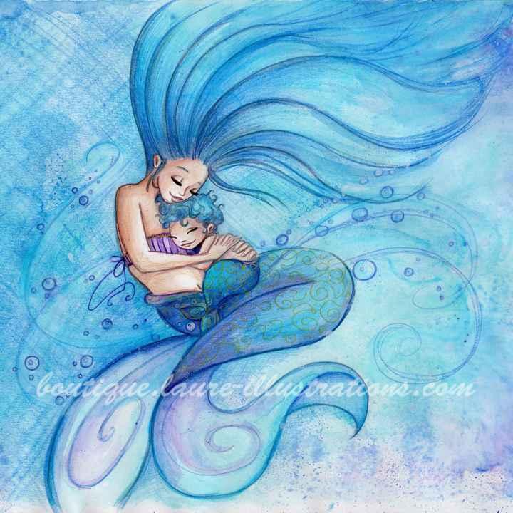 D32 :: Sirène gros câlin - Aquarelle du cahier de coloriage - Carré