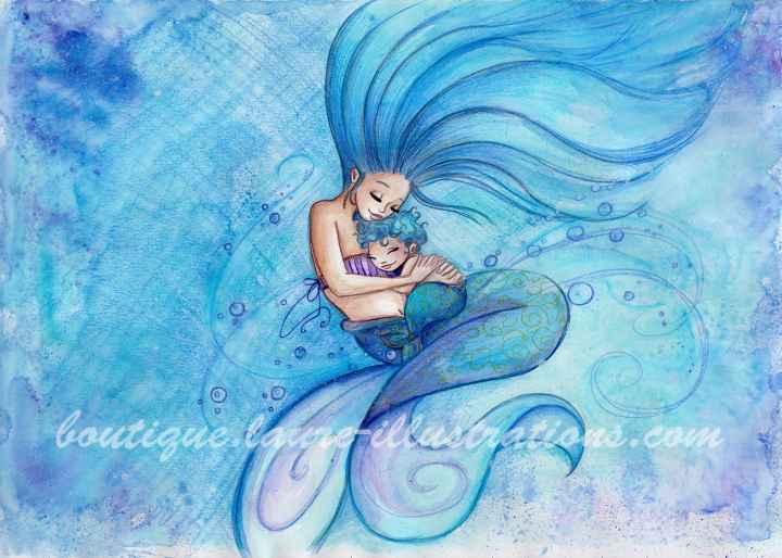 Sirène gros câlin - Aquarelle du cahier de coloriage - horizontal