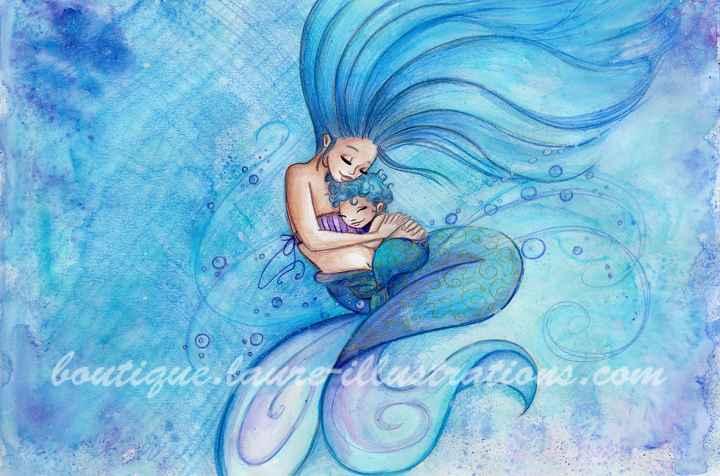 D31 :: Sirène gros câlin - Aquarelle du cahier de coloriage - horizontal